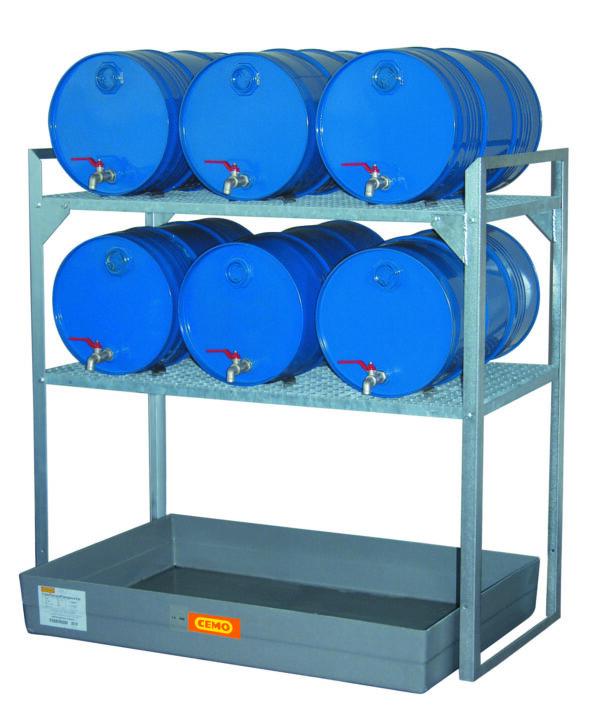 Rayonnage 360 avec cale-fûts pour 6 fûts 60 litres et petits récipients