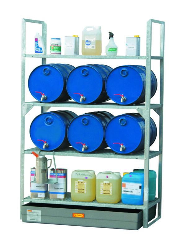 Rayonnage 540 avec cale-fûts pour 6 fûts 60 litres et petits récipients