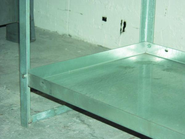 Étagère de rétention 20 litres en acier galvanisé (pour remplacer un caillebotis en étage