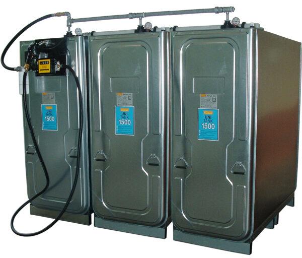 Station UNI PLATINE 4 500 l soit 3 cuves UNI 1 500 l en batterie avec vannes de sélection