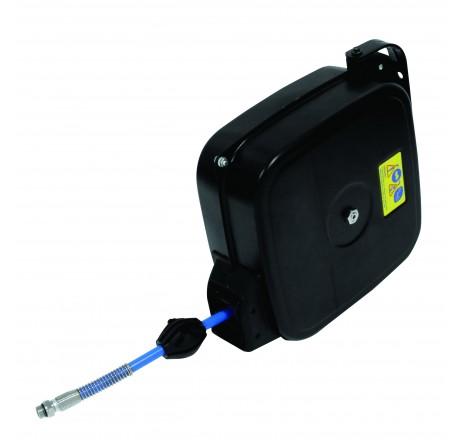 Enrouleur automatique air comprimé carrossé acier fermé - équipé de 15 m de flexible caoutchouc DN 8