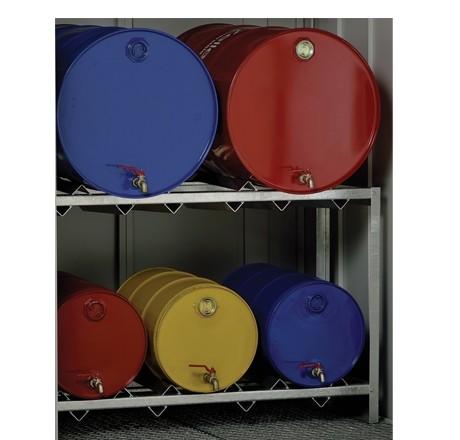 Rayonnage fûts avec 2 niveaux pour 2 fûts de 200 litres ou 3 fûts de 60 litres chacun