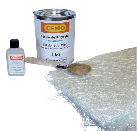 Kit de réparation polyester composé d'1 kg de résine